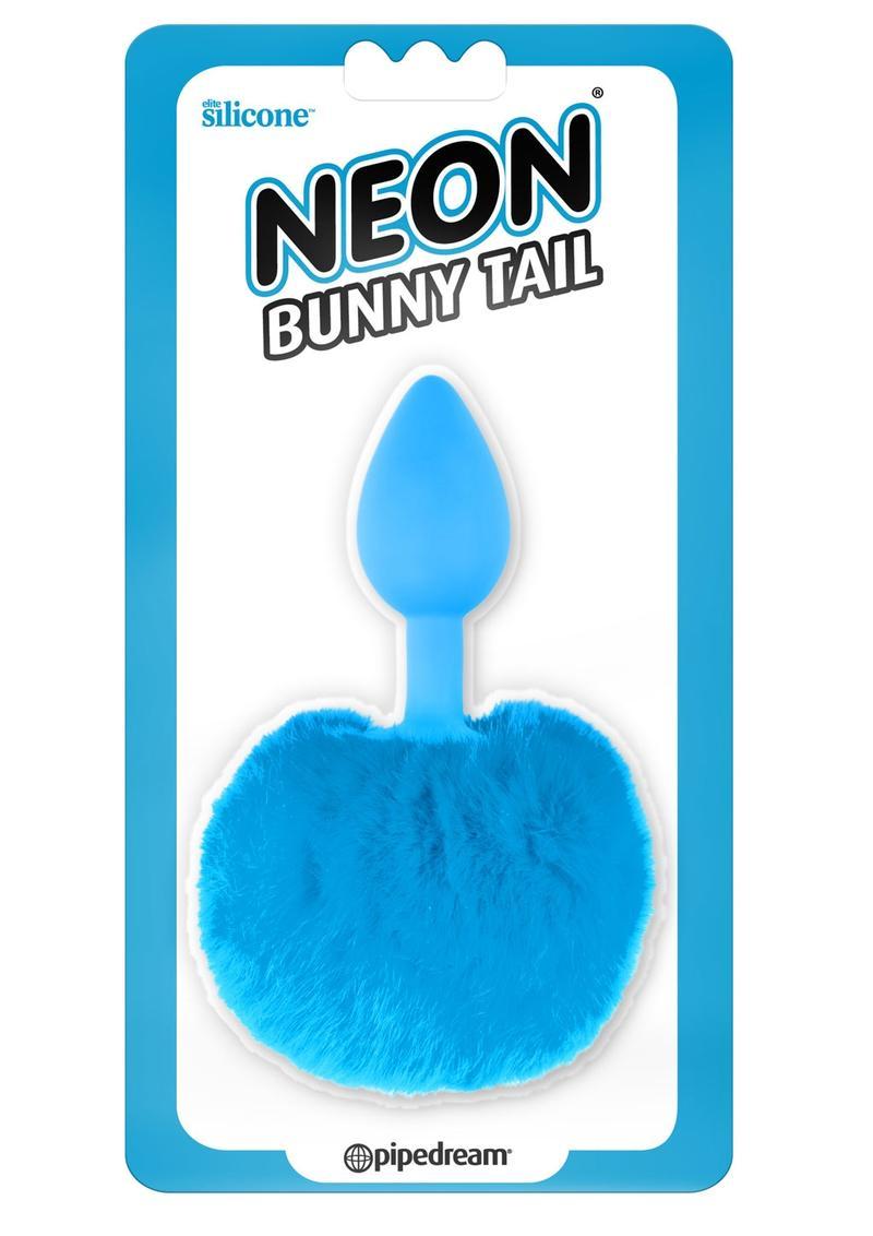 Neon Bunny Tail SIlicone Anal Plug - Blue