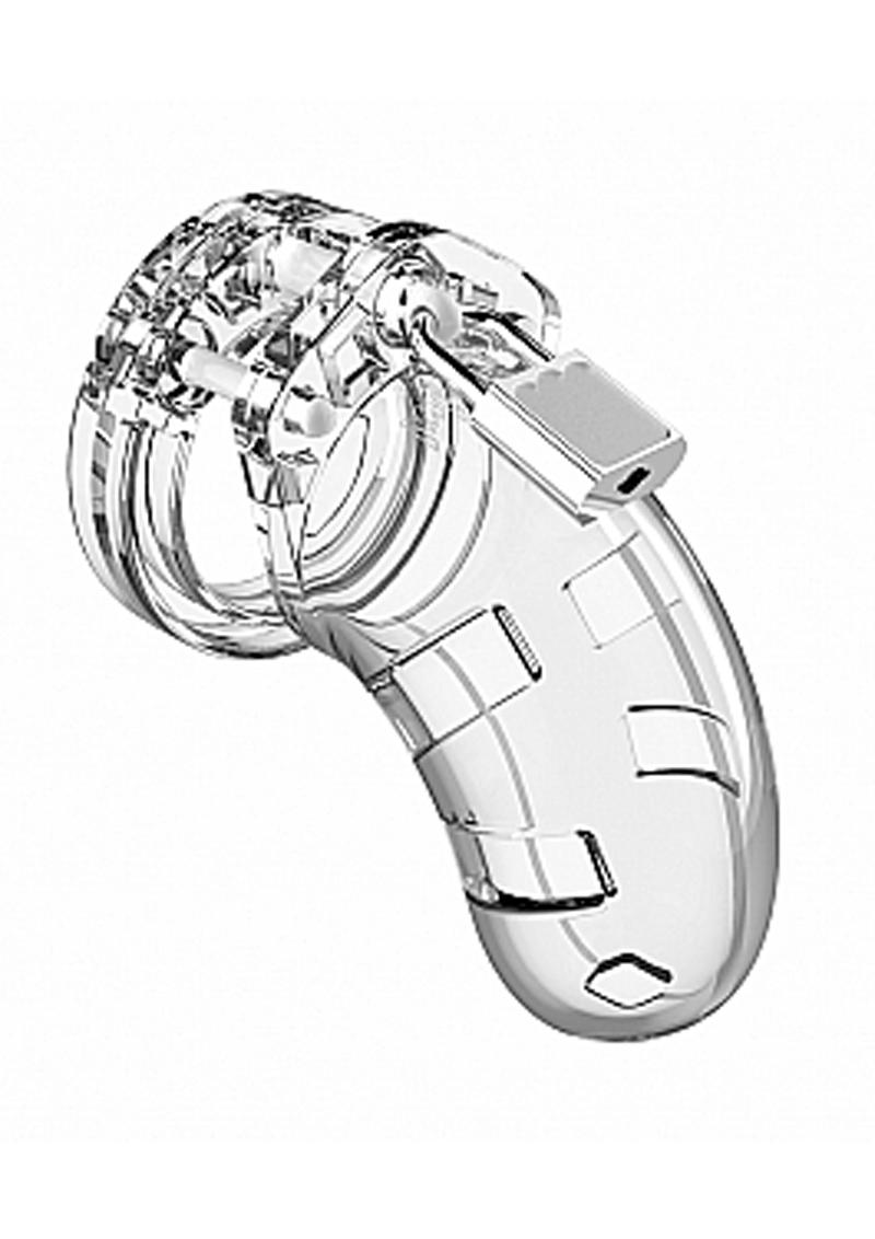 Man Cage Model 01 Male Chastity With Lock 3.5in - Clear