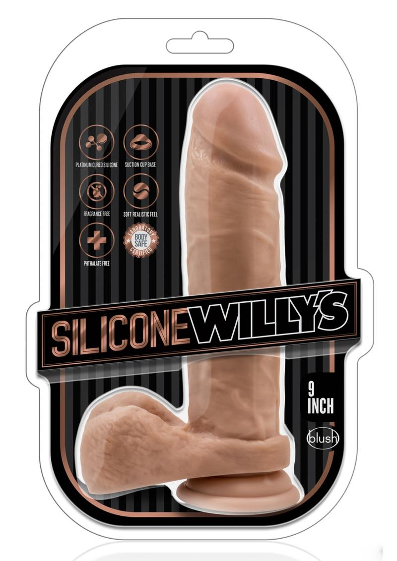 Silicone Willy`s Silicone Dildo with Suction Cup 9in - Caramel