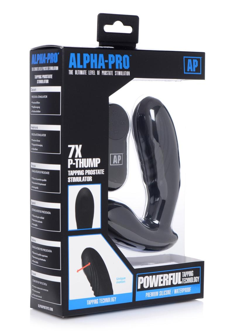 Alpha-Pro 7x P-Thump Rechargeable Vibrating Tapping Silicone Prostate Stimulator - Black **Special Order**
