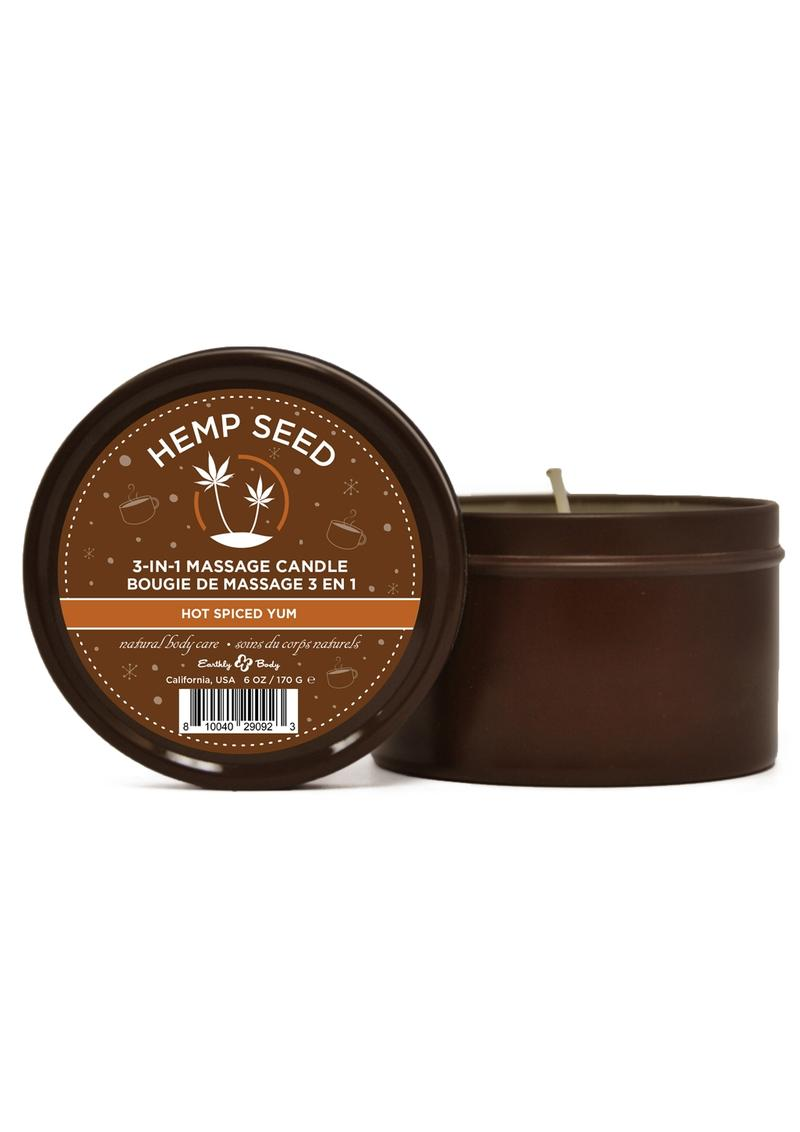 Earthly Body Hemp Seed Holiday Massage Candle Hot Spiced Yum 6oz