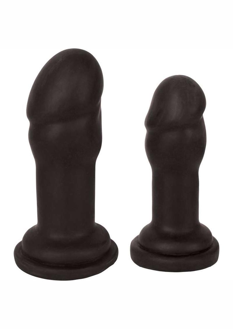 Jock Anal Plug Duo Penis Heads - Black