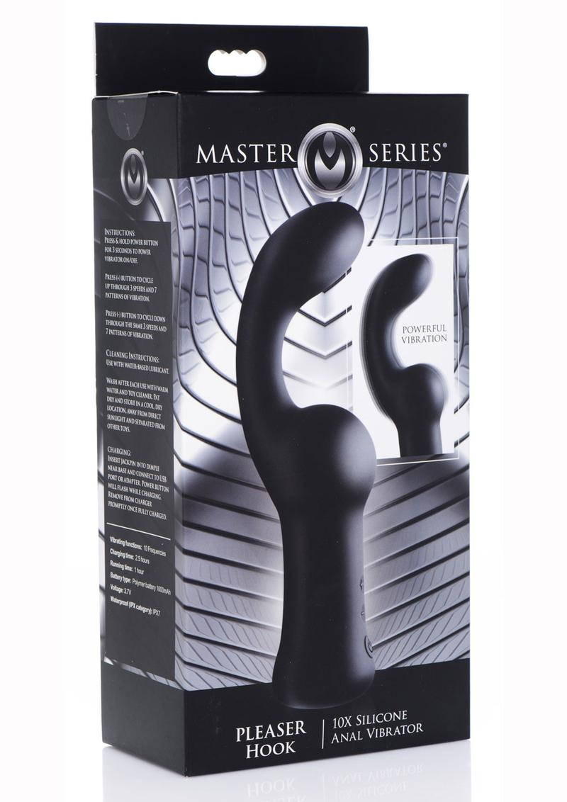 Master Series Pleaser Hook 10x Silicone Rechargeable Anal Vibrator - Black
