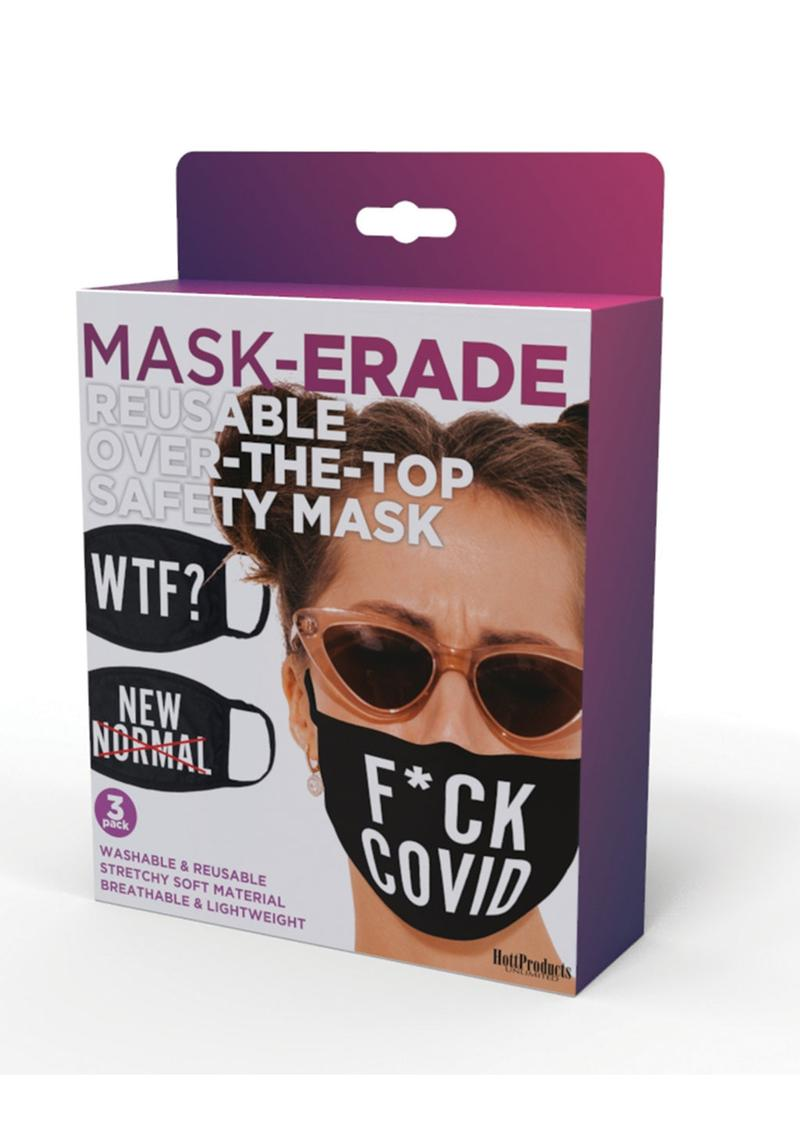 Maskerade Protective Mask (F Covid/ WTF?/ New Normal) 3 Per Pack - Black