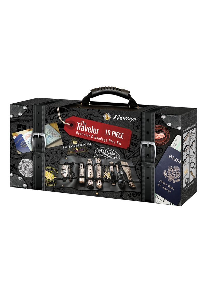 The Traveler Restraint andamp; Bondage Play Kit (Set of 10) - Gold/Black