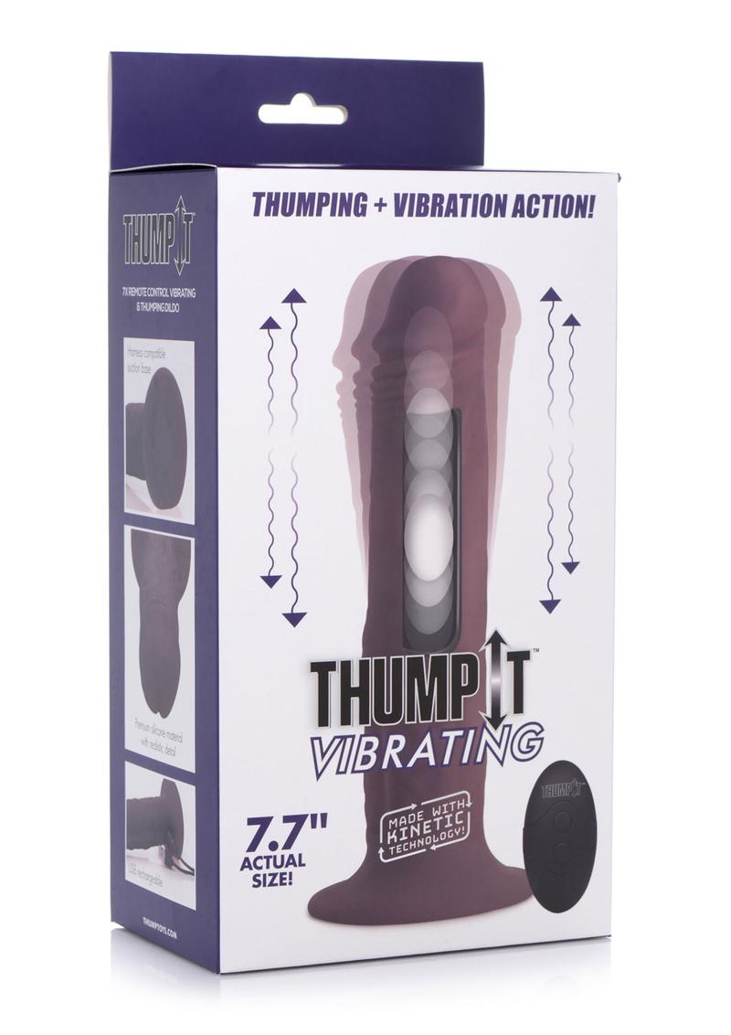Thump It 7x Remote Control Vibrating andamp; Thumping Silicone Rechargeable Dildo 7.7in - Brown