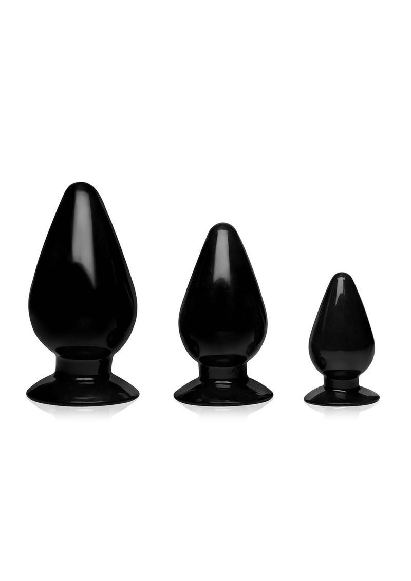 Master Series Triple Cones Anal Plug Set (3 pieces) - Black