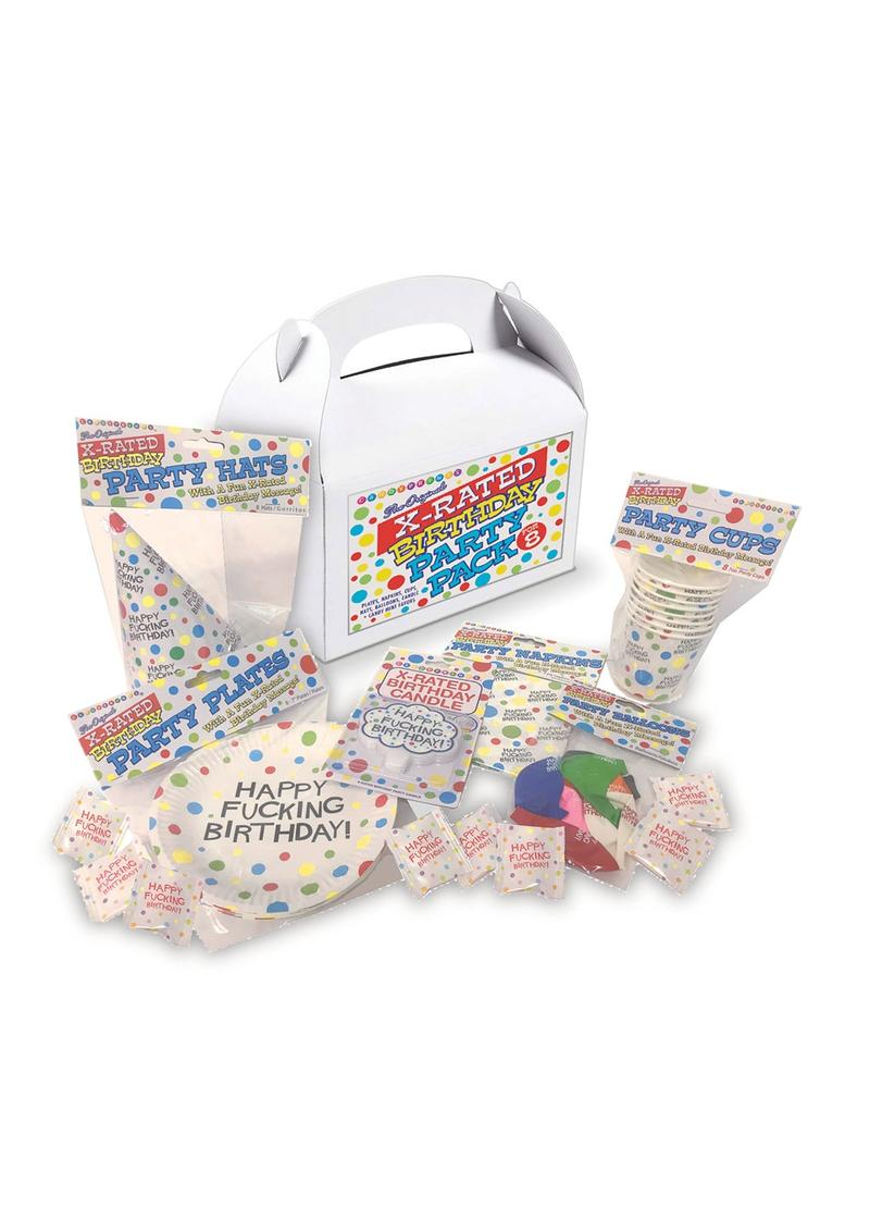 X-Rated Birthday Party Pack For 8 - White/Black