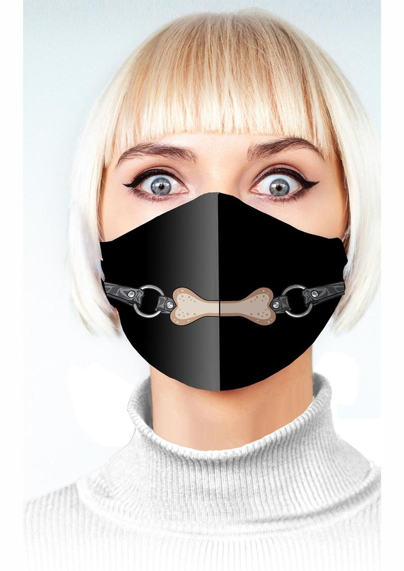 Super Naughty Dog Bone Gag Mask - Black