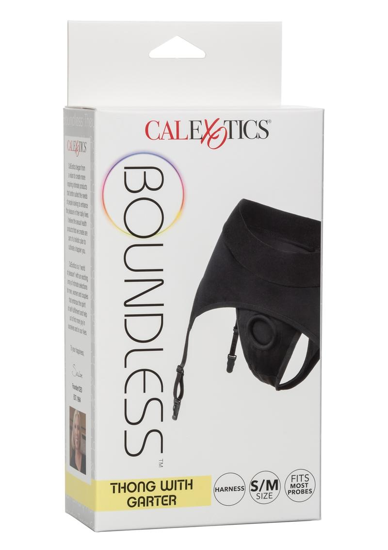 Boundless Thong With Garter Harness S/M - Black