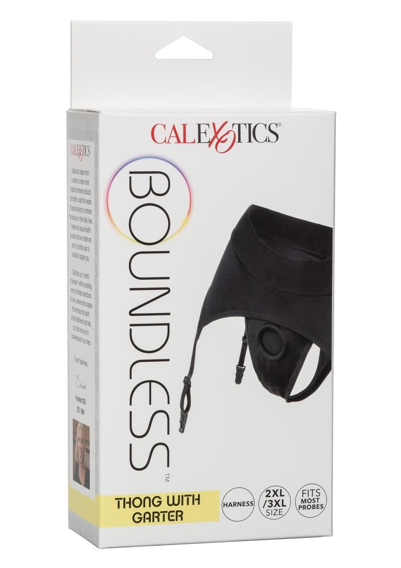 Boundless Thong With Garter Harness - 2XL/3XL - Black