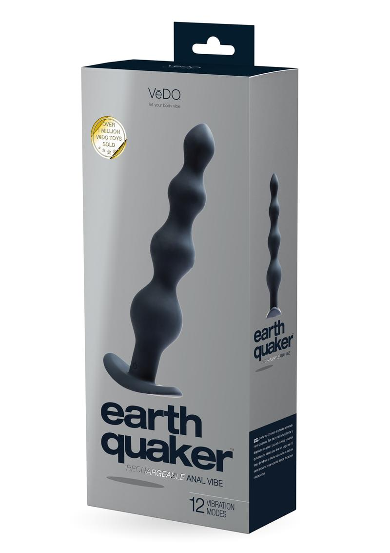 VeDO Earth Quaker Rechargeable Silicone Anal Vibrator - Just Black