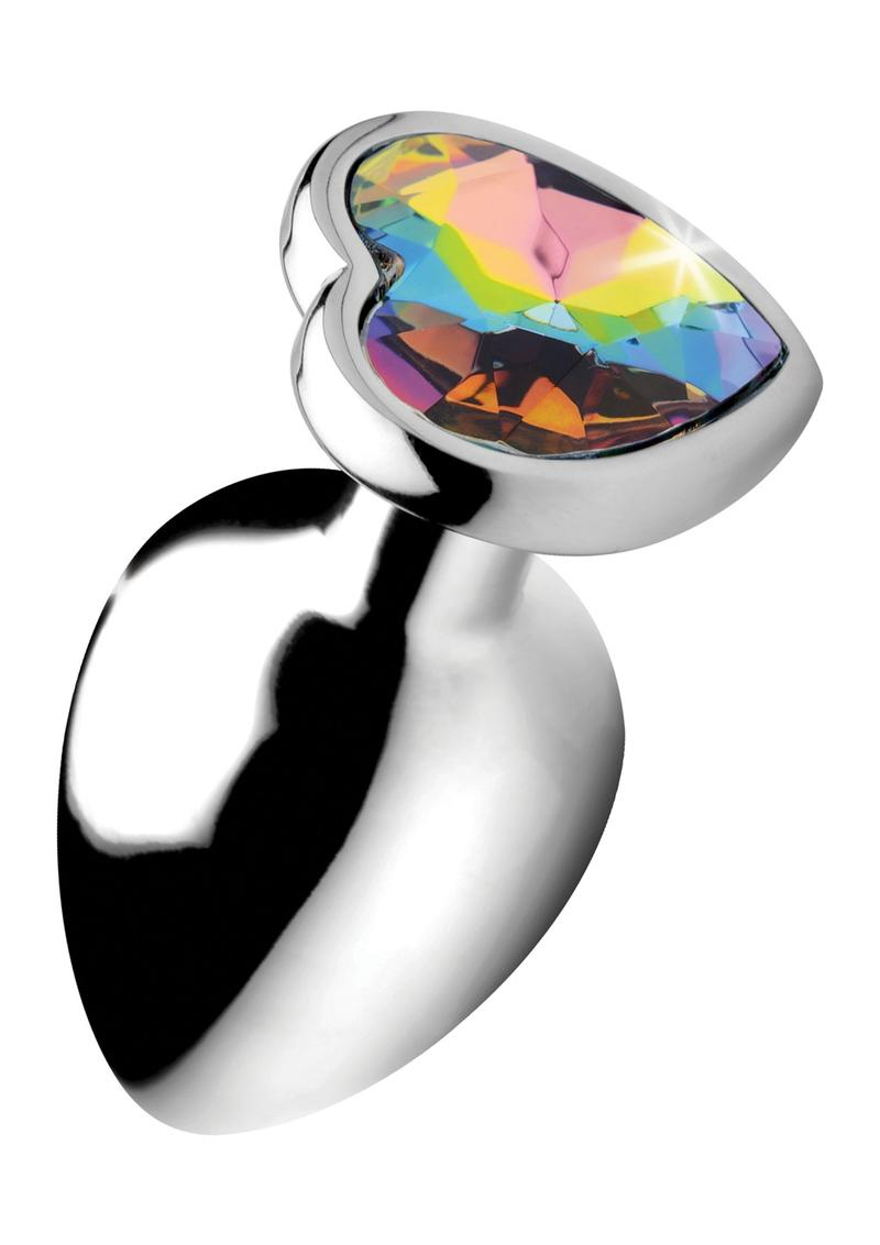 Booty Sparks Rainbow Prism Heart Anal Plug - Large **Special Order**