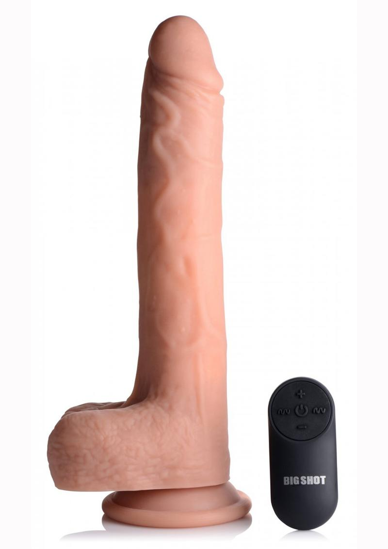 Big Shot Silicone Vibrating Thrusting Dildo 8in - Vanilla