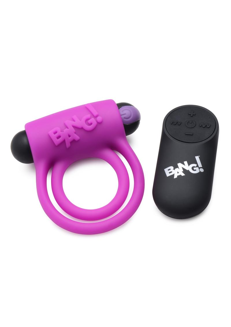 Bang! Silicone Rechargeable Cock Ring And Bullet With Remote Control - Purple