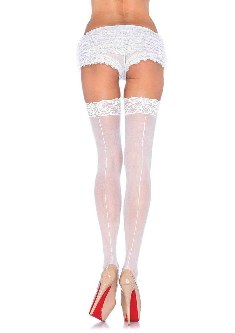 Leg Avenue Sheer Stocking With Backseam And Lace Top - O/S - White