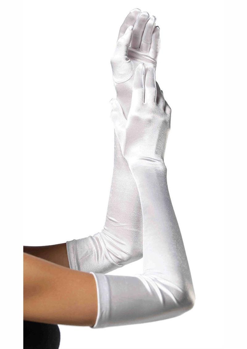 Leg Avenue Extra Long Satin Gloves - O/S - White