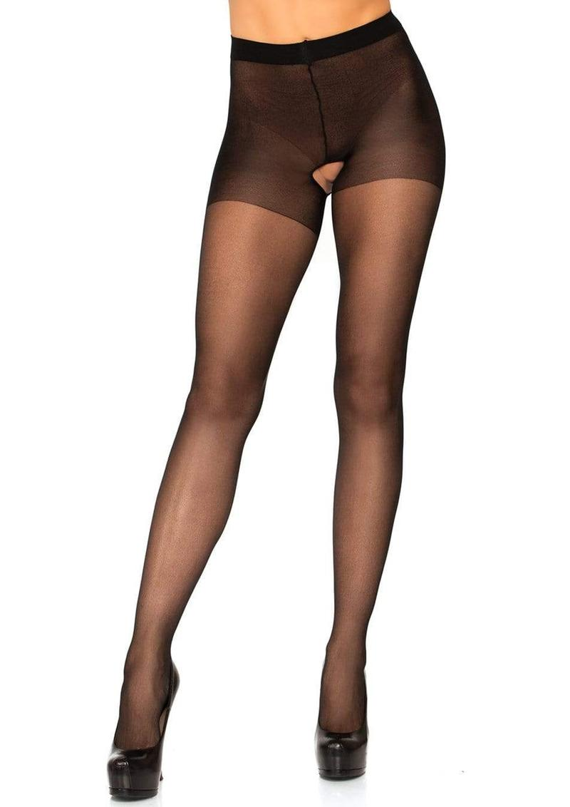 Leg Avenue Sheer Nylon Crotchless Pantyhose - O/S - Black
