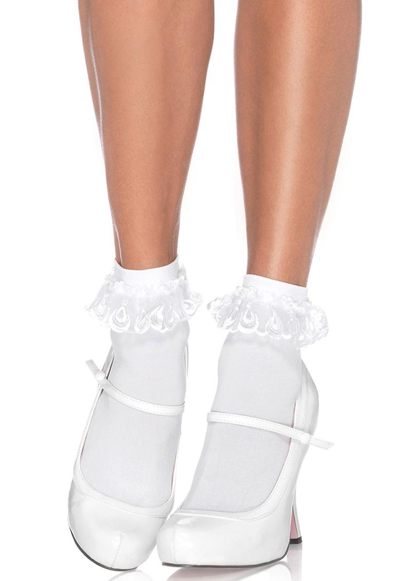Leg Avenue Anklet With Lace Ruffle - O/S - White