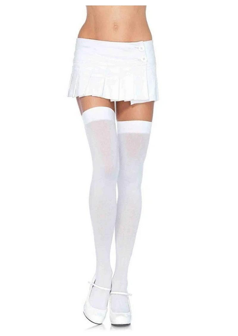 Leg Avenue Nylon Thigh High - O/S - White