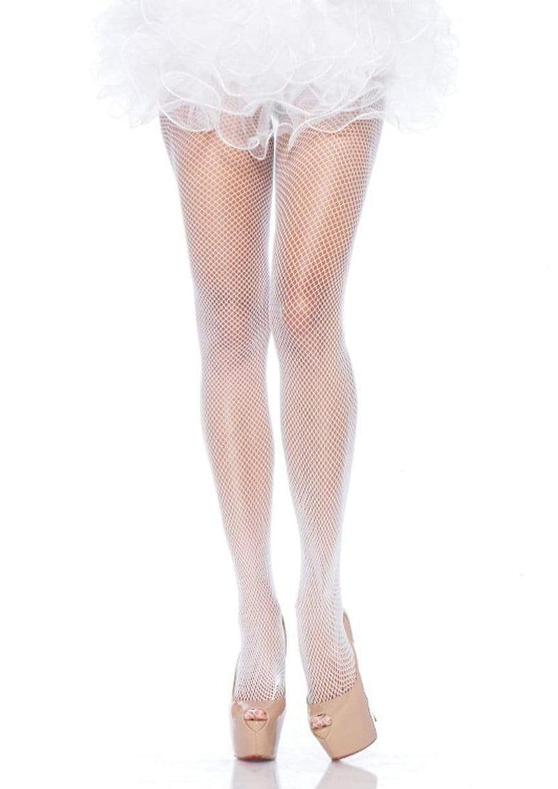 Leg Avenue Nylon Fishnet Pantyhose - Plus Size - White