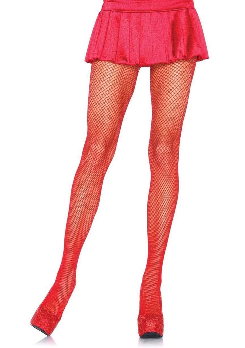 Leg Avenue Nylon Fishnet Pantyhose - Plus Size - Red