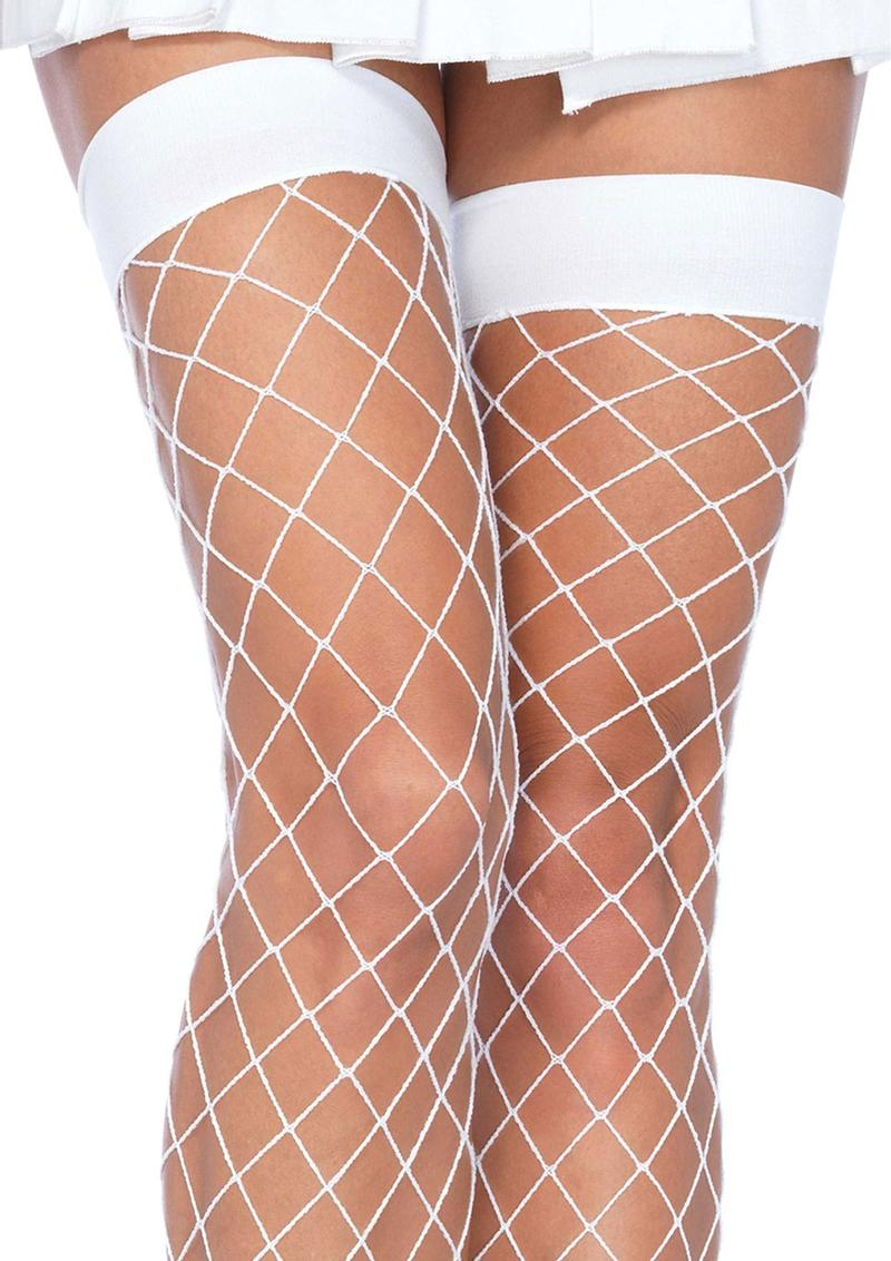 Leg Avenue Fence Net Thigh High - Plus Size - White