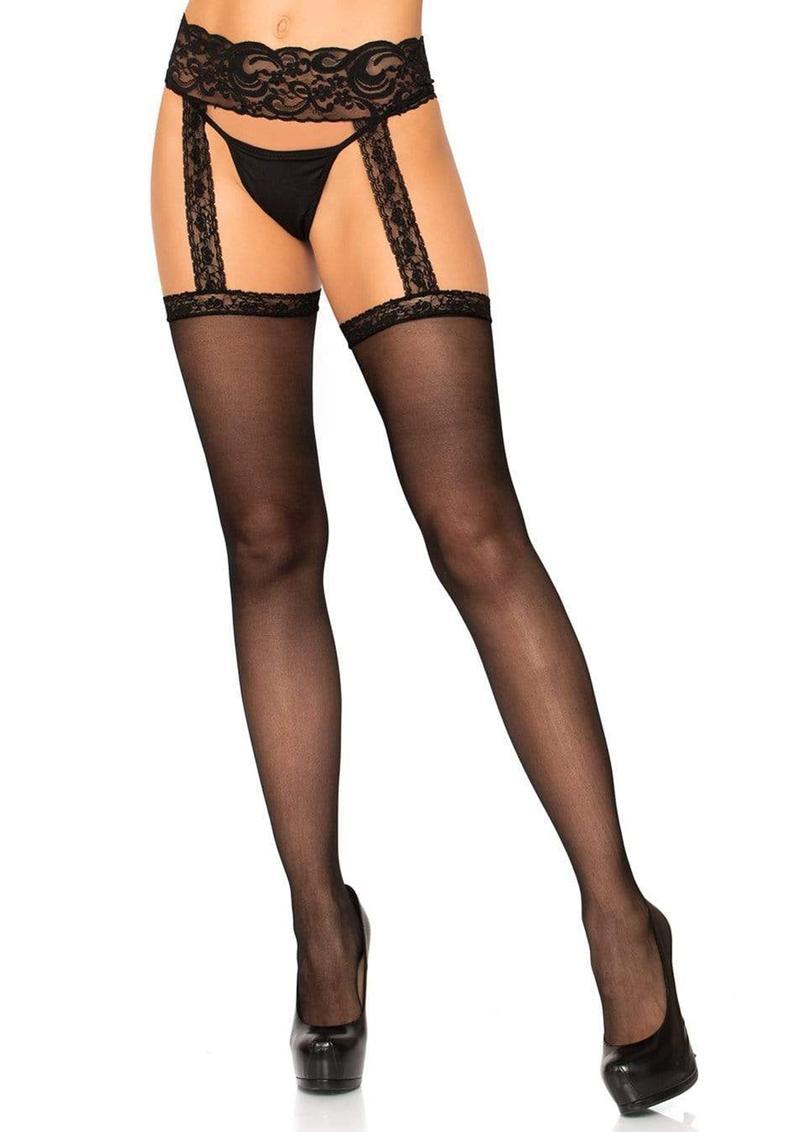 Leg Avenue Sheer Thigh High With Lace Garter Belt - O/S - Black