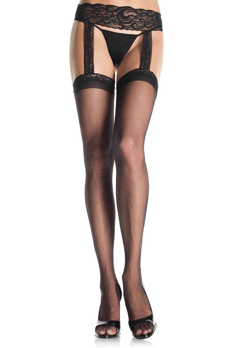 Leg Avenue Sheer Thigh High With Lace Garter Belt - Plus Size - Black