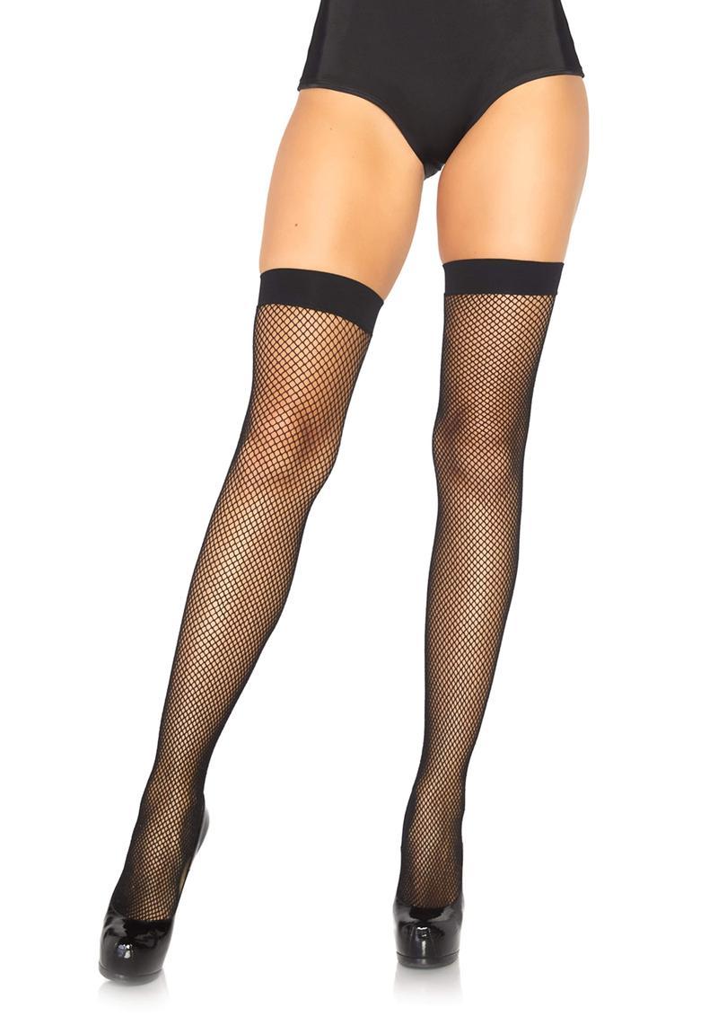 Leg Avenue Nylon Fishnet Thigh High - O/S - Black