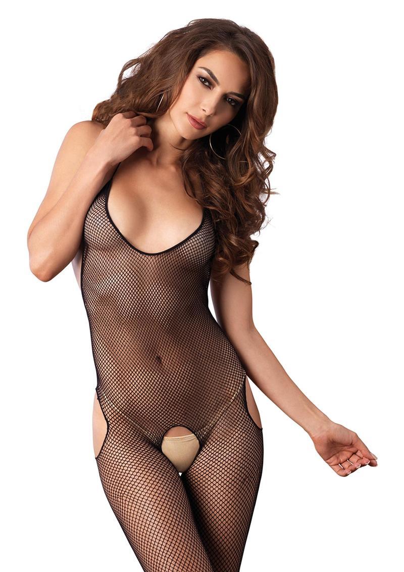 Leg Avenue Seamless Fishnet Halter Suspender Bodystocking - O/S - Black