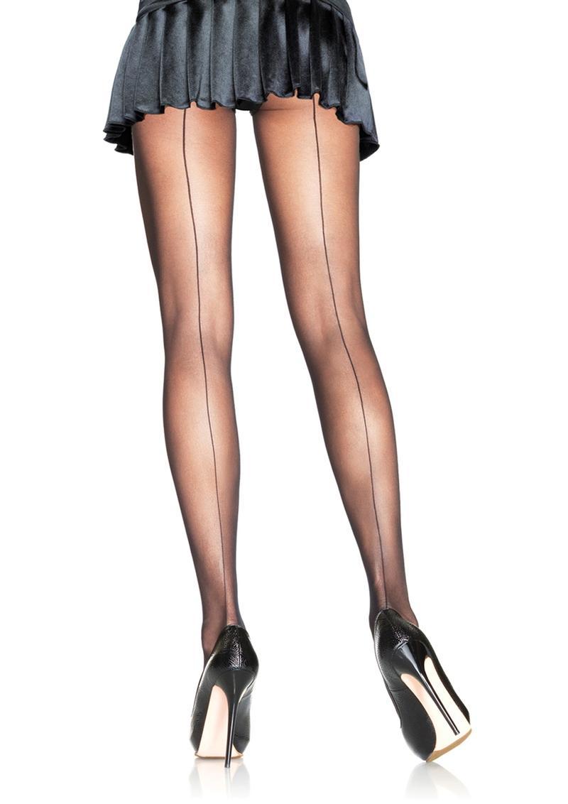 Leg Avenue Backseam Sheer Pantyhose - 1X-2X - Black