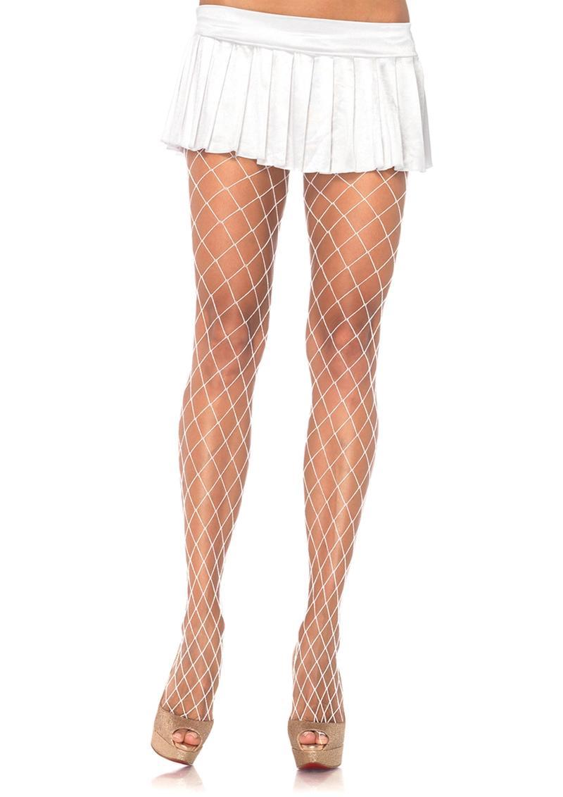 Leg Avenue Spandex Diamond Pantyhose - O/S - White