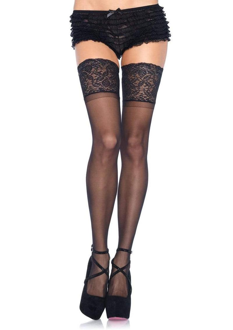 Leg Avenue Lycra Sheer Stay Up Thigh High With 5in Silicone Lace Top - O/S - Black