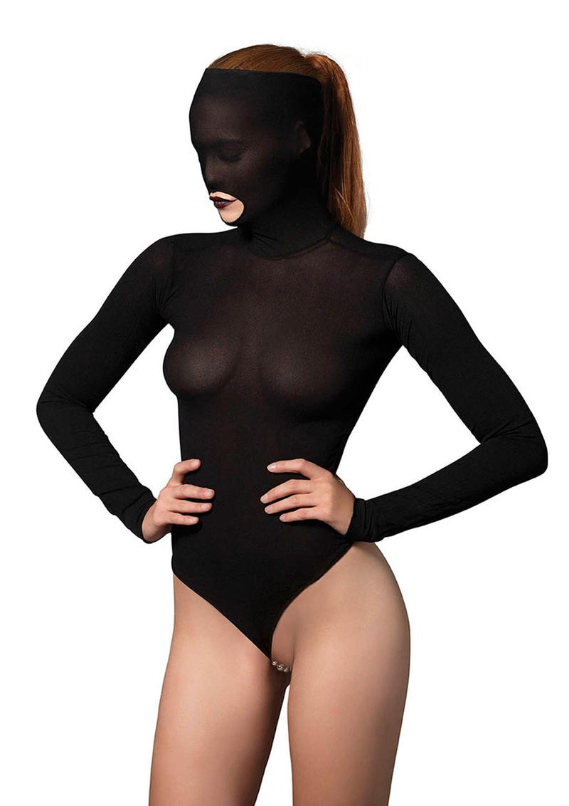 Leg Avenue Opaque Masked Teddy With Stimulating Beaded G-String - O/S - Black