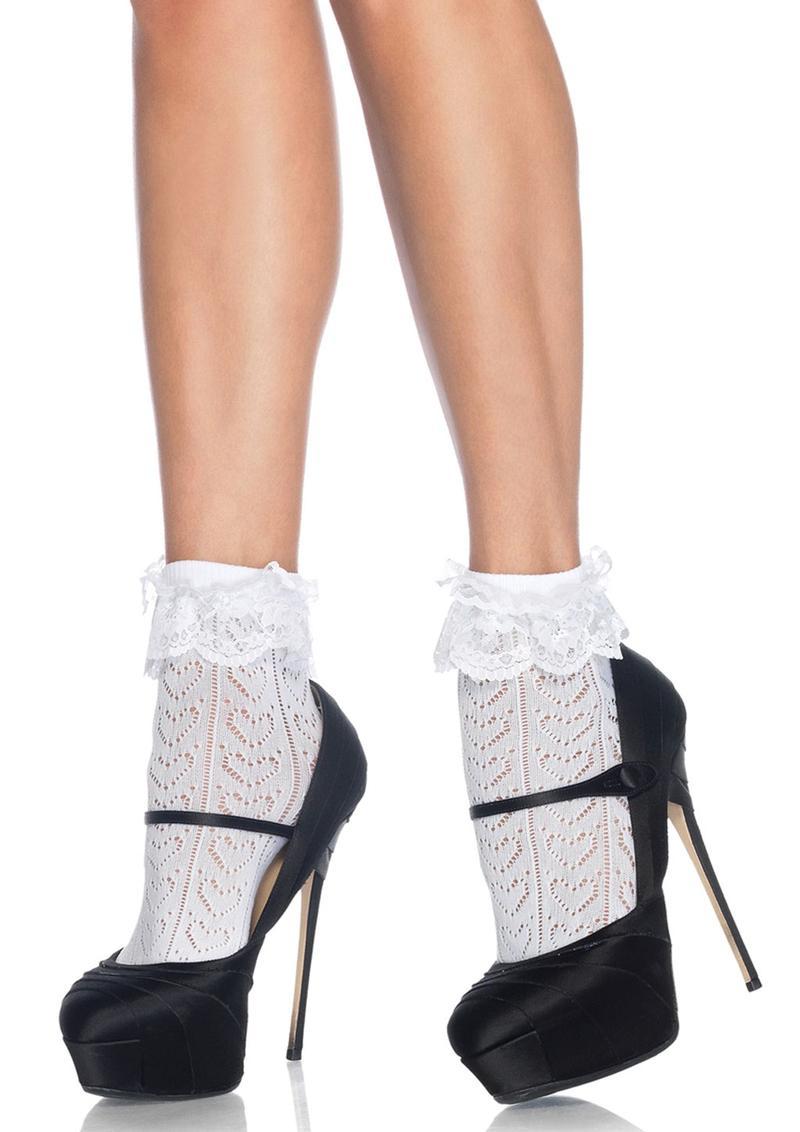 Leg Avenue Crochet Heart Lace Top Anklet Socks - O/S - White