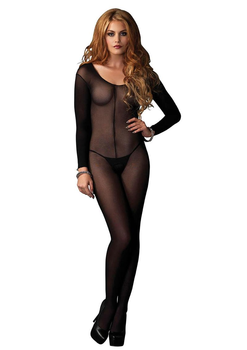 Leg Avenue Sheer Long Sleeve Bodystocking - O/S - Black