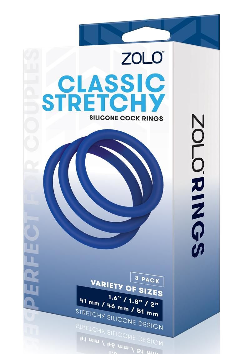 Zolo Stretchy Silicone Cock Ring (3 pack) - Navy