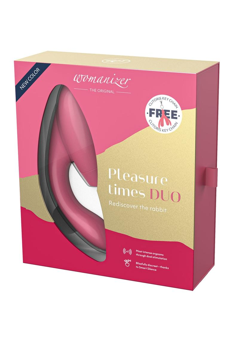 Womanizer Duo Silicone Rechargeable Clitoral And G-Spot Stimulator - Raspberry