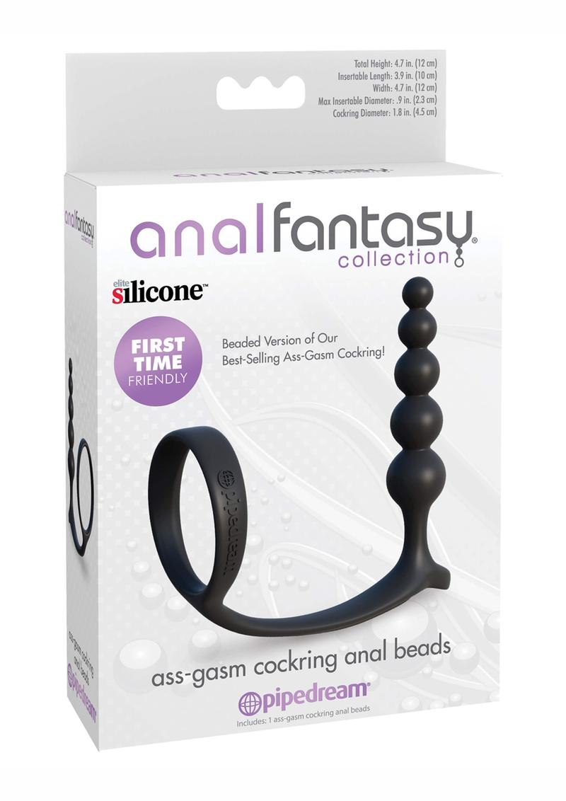 Anal Fantasy Collection Ass-gasm Silicone Cockring Anal Beads - Black