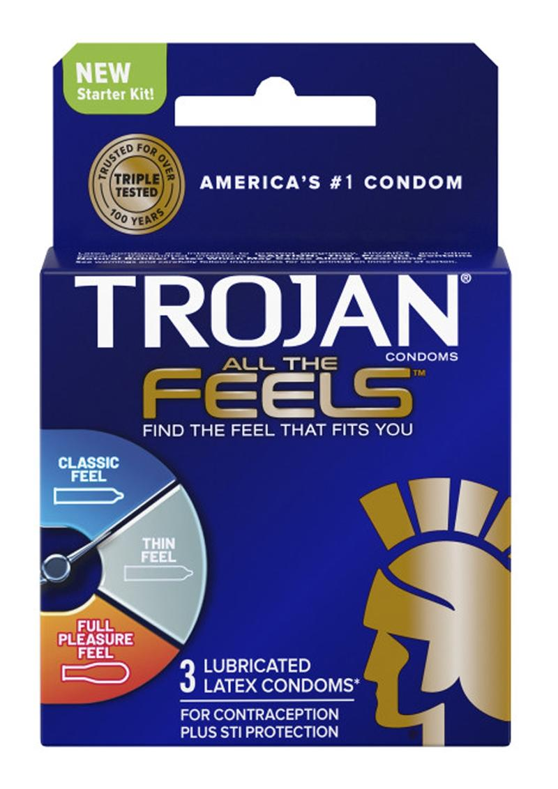 Trojan All The Feels Latex Lubricated Condoms 3 Pack