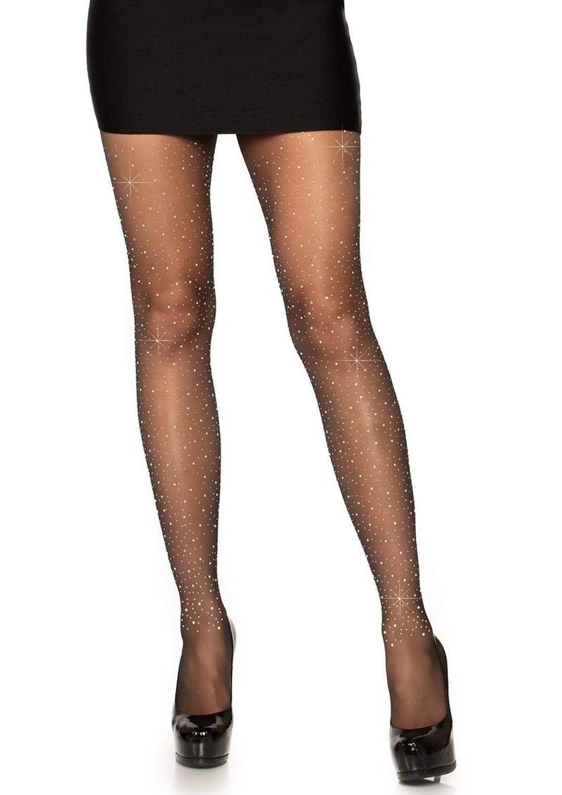 Leg Avenue Spandex Sheer Rhinestone Pantyhose - O/S - Black