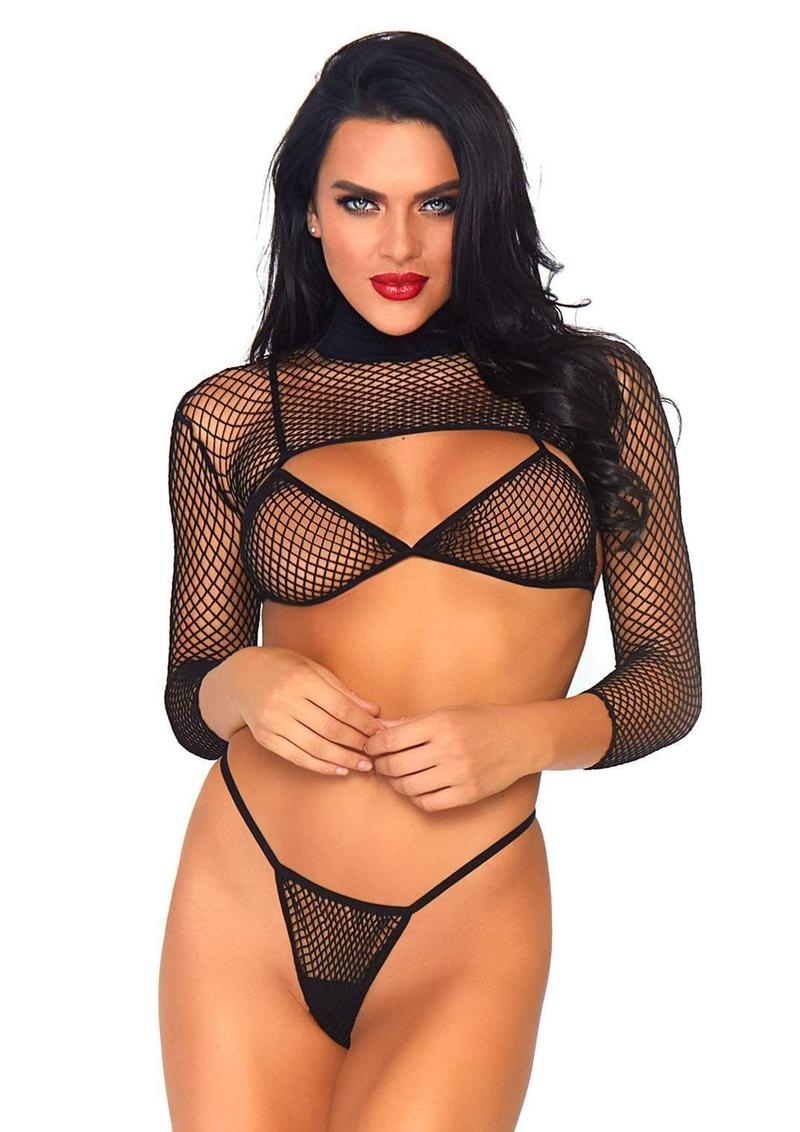Thong And Long Sleeved Crop Top (3 Piece) - O/S - Black