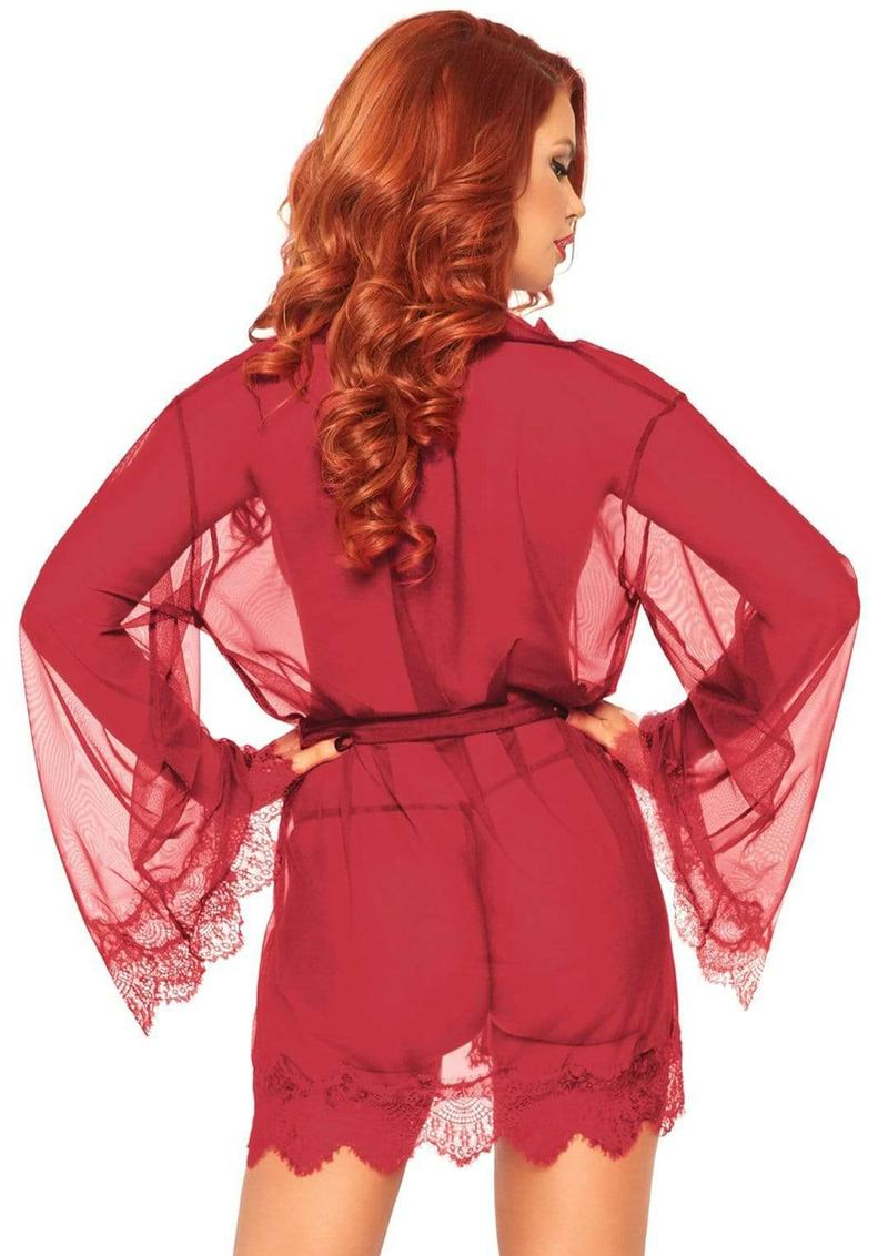 Leg Avenue Sheer Short Robe With Eyelash Lace Trim And Flared Sleeves