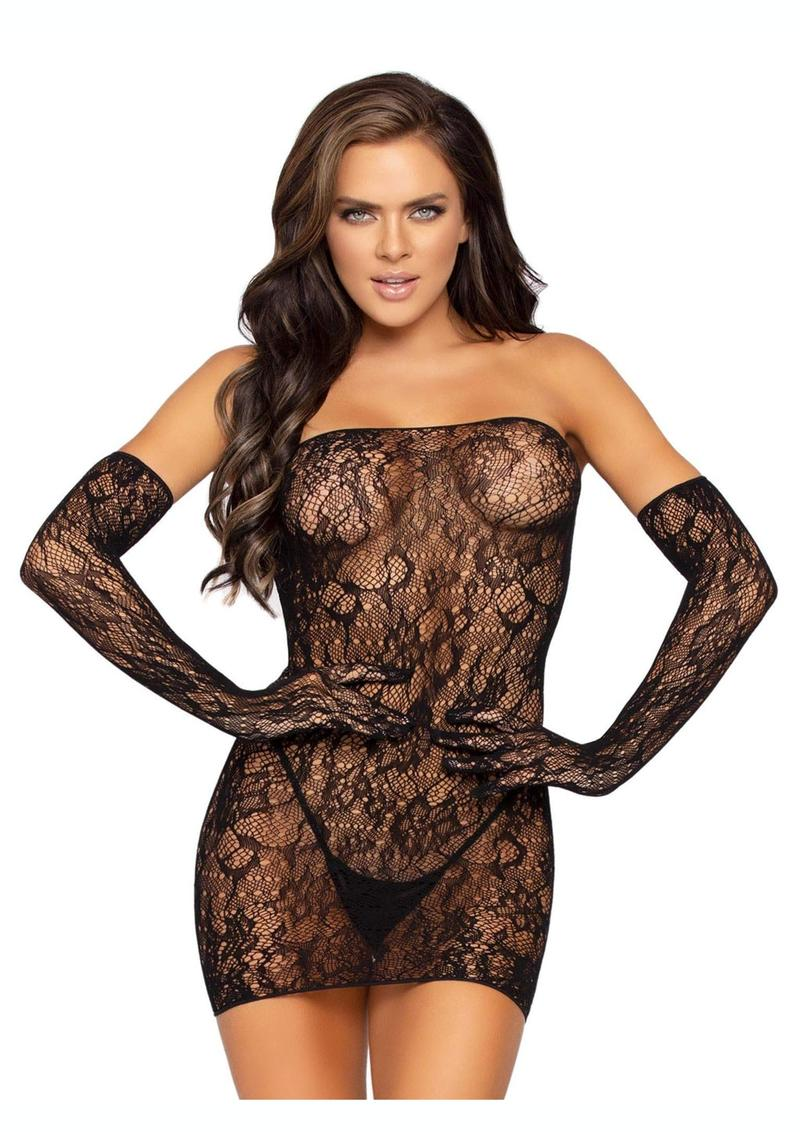 Leg Avenue Seamless Dotted Lace Tube Dress And Matching Gloves (2 Piece) - O/S - Black