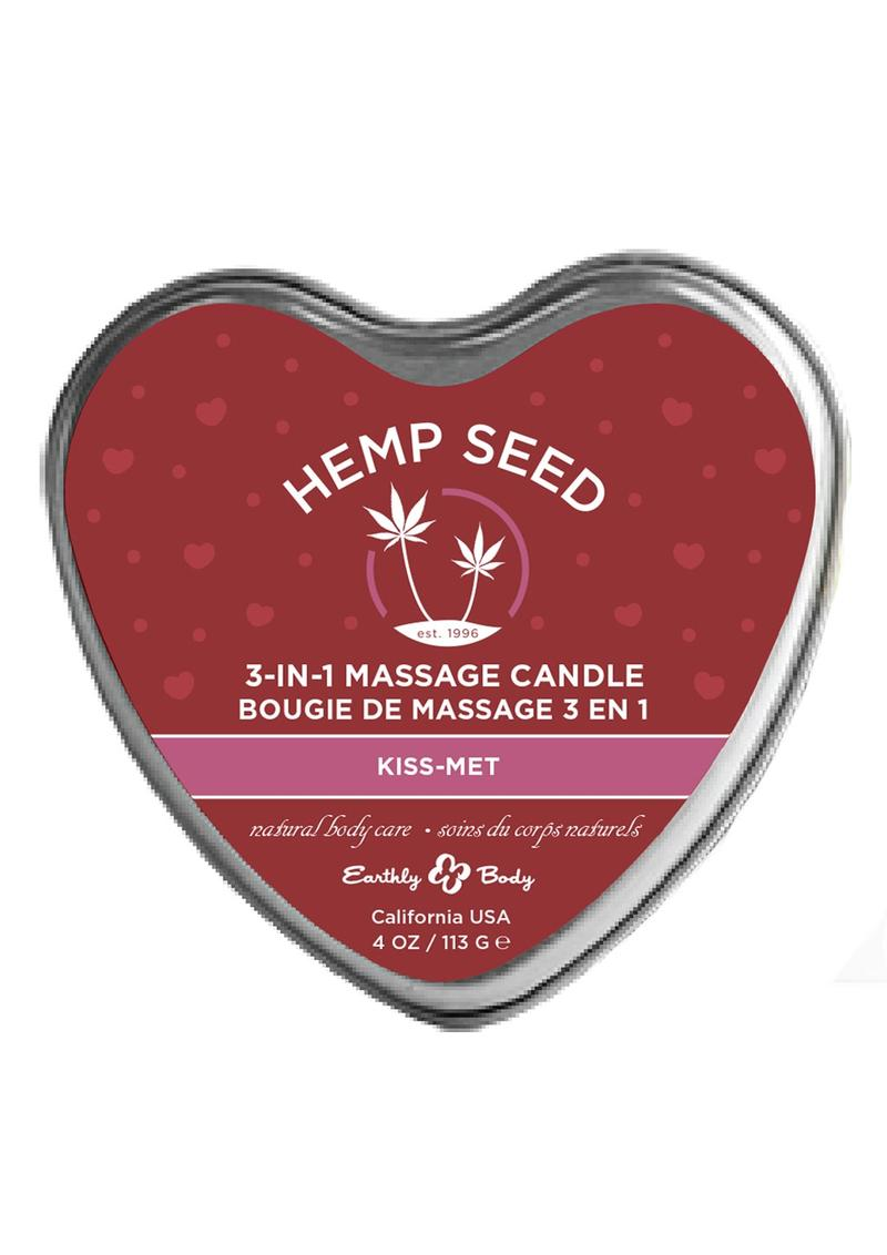 Earthly Body Hemp Seed 3 in 1 Heart Massage Candle Kiss-Met 4oz