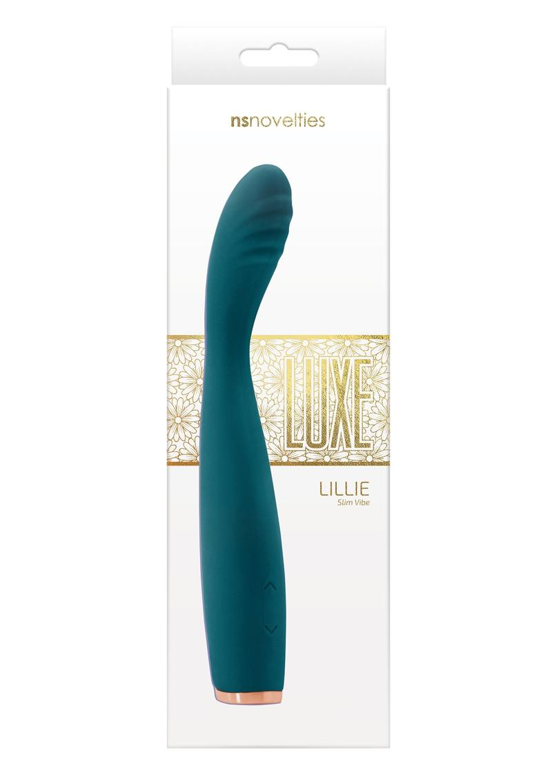 Luxe Lillie Silicone Rechargeable Vibrating Slim Wand Massager - Teal