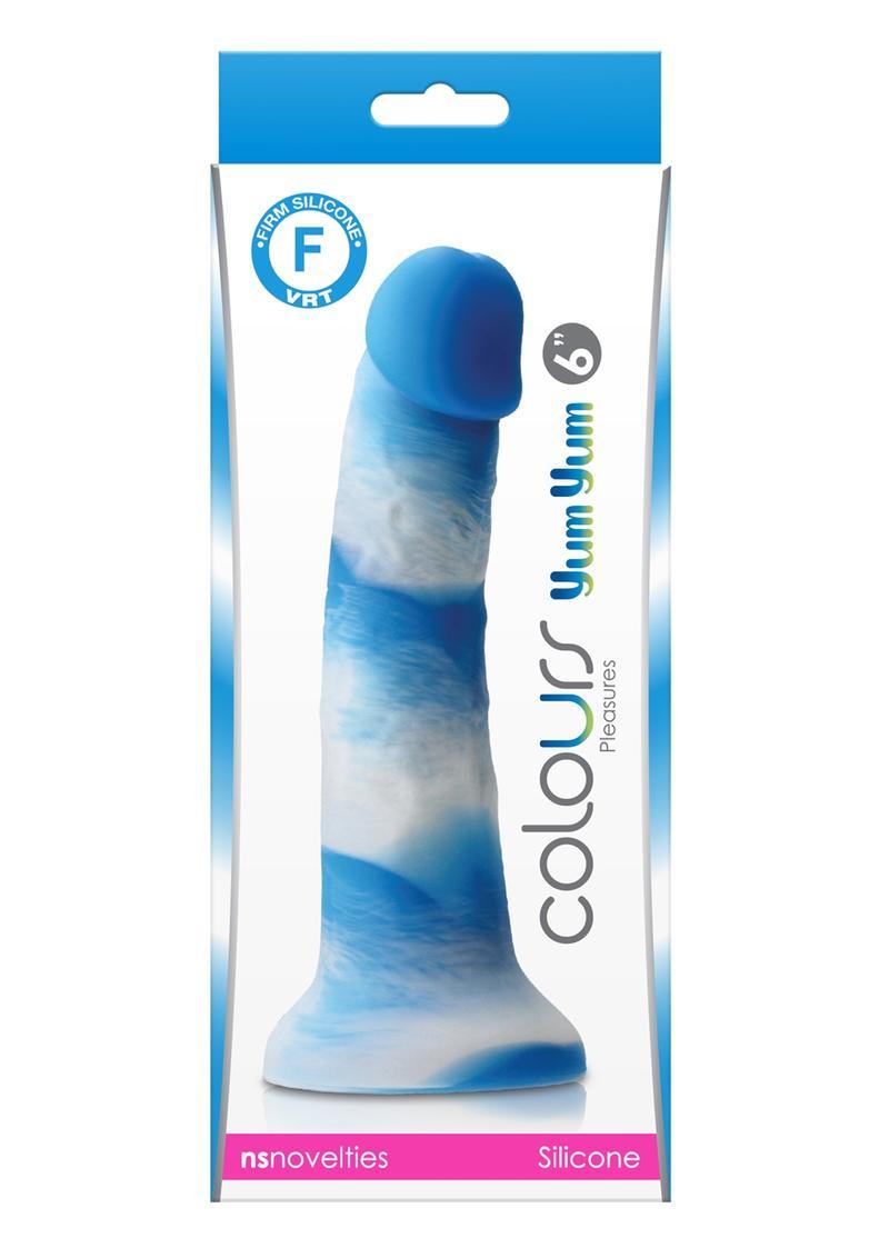 Colours Pleasures Yum Yum Silicone Dildo 6in - Blue/White