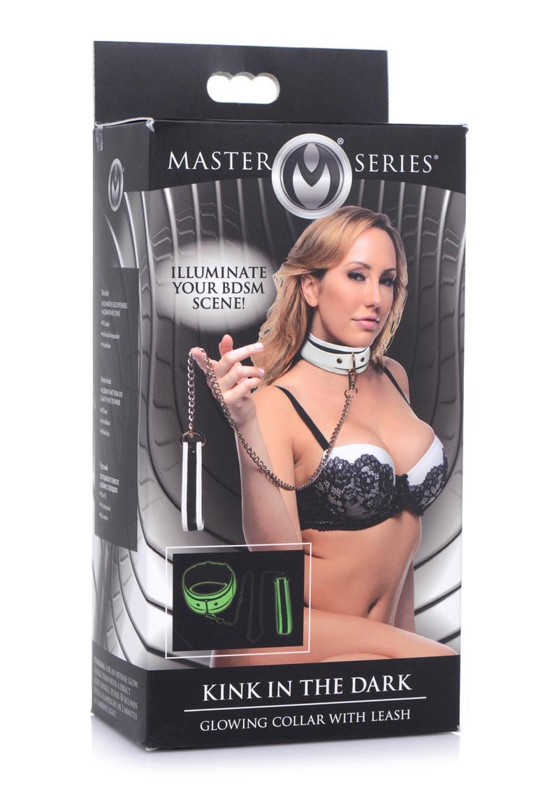Master Series Kink in the Dark Glowing Collar andamp; Leash - White/Black