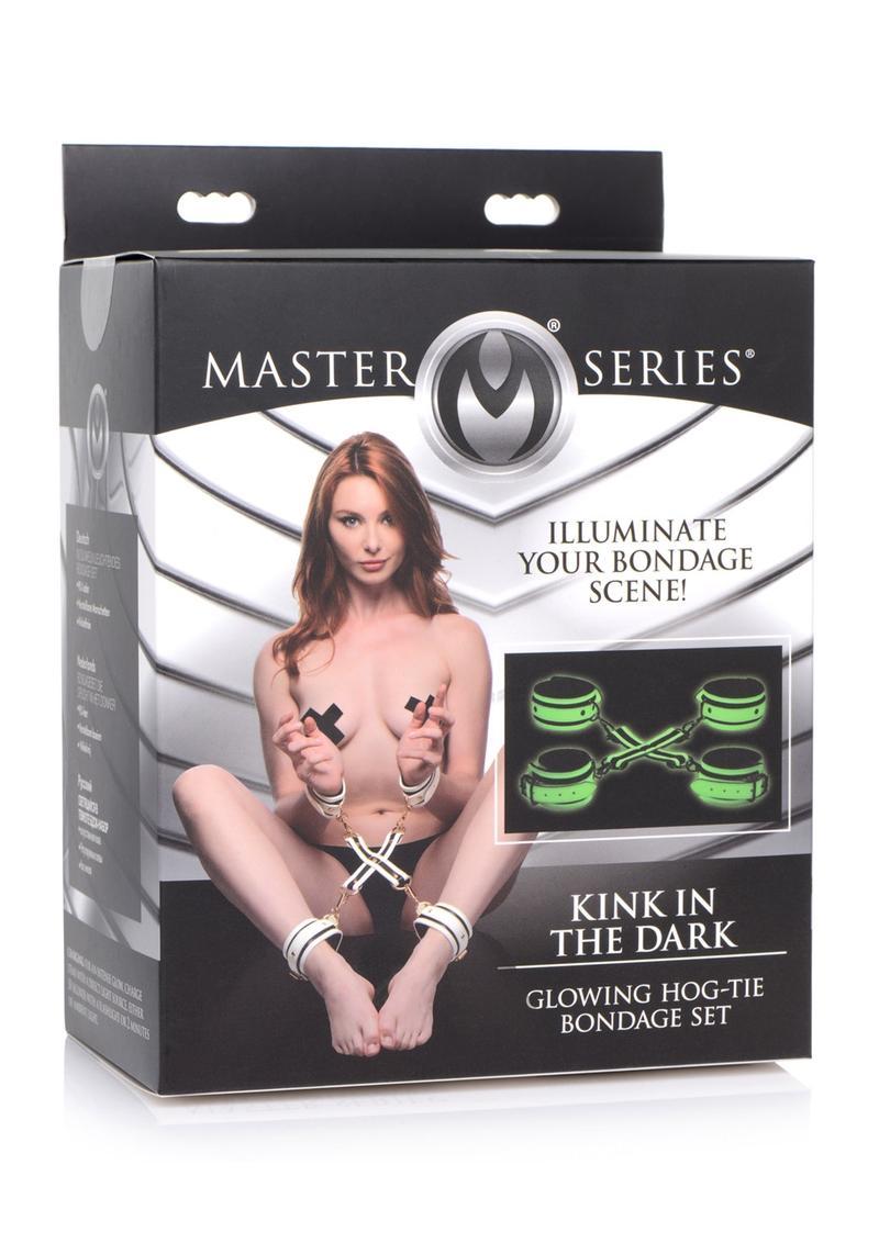 Master Series Kink in the Dark Glowing Hog Tie Set - White/Black